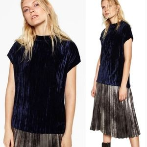 Zara • Crushed Velvet Midnight Blue Top